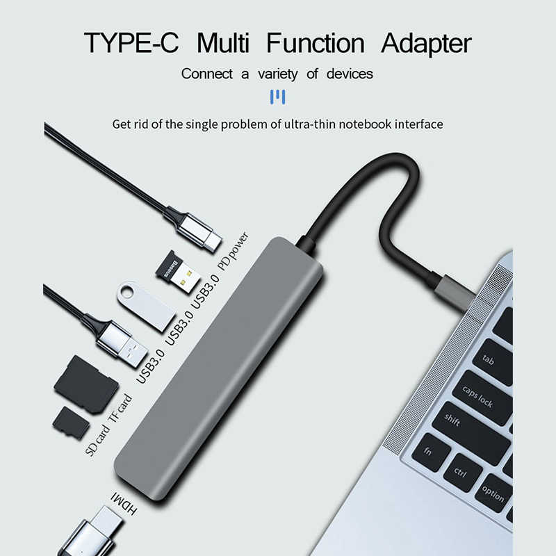 UTHAI C47 type-c Multi Adapter do HDMI 4K USB3.0 SD TF konwerter do Macbook Pro 7 w 1 stacja dokująca do przełącznika PD szybkie ładowanie