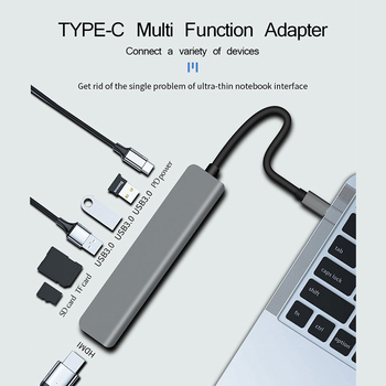 UTHAI C47 Type-C Multi Adapter to HDMI 4K USB3.0 SD TF Converter For Macbook Pro 7 In 1 Dock Station For SWITCH PD Fast Charging