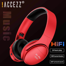 ! سماعات رأس ACCEZZ لاسلكية قابلة للطي مزودة بتقنية البلوتوث وستيريو وخاصية إلغاء الضوضاء سماعة رأس رياضية بقوة 500 مللي أمبير في الساعة تدعم بطاقة TF ووصلة FM ووصلة AUX
