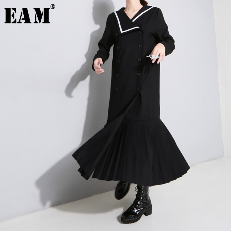 [EAM] Women Double Breasted Hem Pleated Long Trench New Lapel Long Sleeve Loose Fit Windbreaker Fashion Tide Spring 2020 1H010