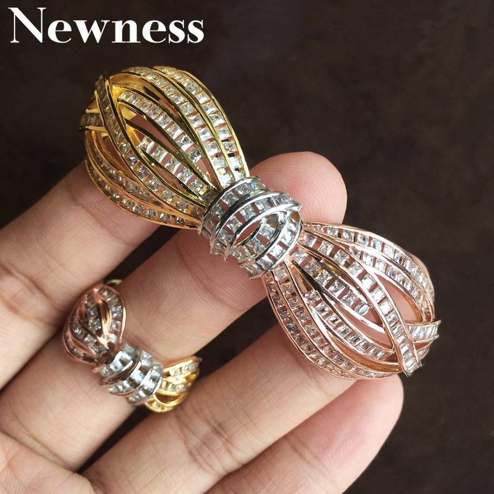 Newness Fashion Brand  Luxury Round Bangle Bracelet and Rings Set for Dubai Women Wedding Accessories