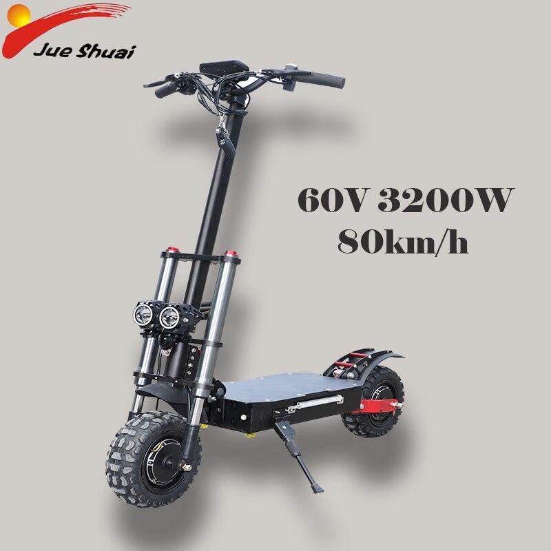 Puissant Scooter électrique 60V3200W 11 pouces hors route gros pneu double moteur roue e scooter pliable adultes Scooters Long Hoverboard