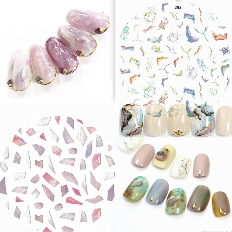 Ultra-Thin Gum Manicure 3D Sticker Japanese Style Nail Sticker Flower Water Dyeing Line Watercolor Stickers Marble Natural Spar
