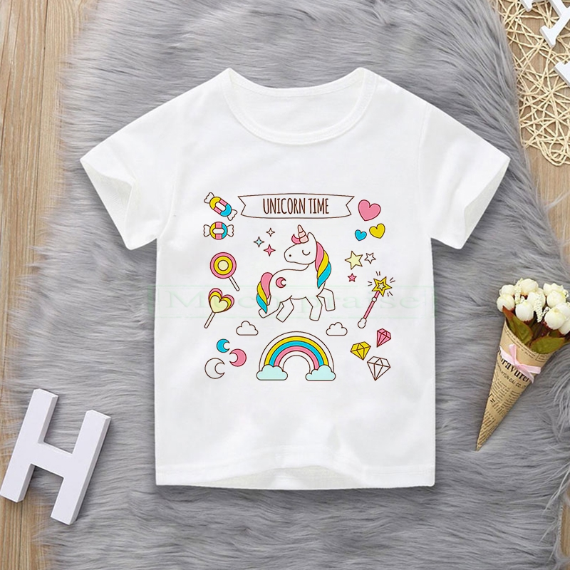 Toddler Girl T-shirt  4 5 6 7 8 9 10 11 12 Years Unicorn Kids T Shirt Luminous Children Summer Tshirt Girl Unicorn Shirt