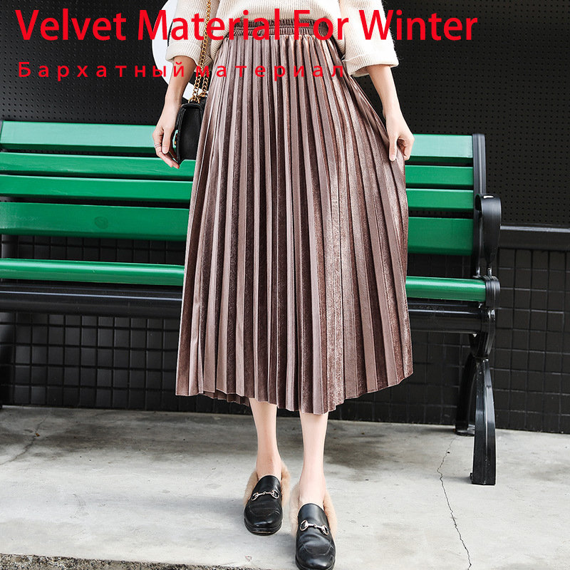Winter Autumn Women's Pleated Skirt Cartoon Print High Waist Long Skirts Women Young Girl Thick Large Size Fahion Female Falda