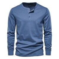AIOPESON-Camiseta de cuello Henry para hombre, camisa de manga larga de Color sólido, informal, 100% de alta calidad, de algodón, novedad de otoño