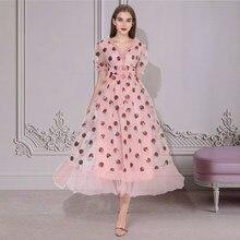 Robes Maxi pour les femmes 2021 D'été fraise Robe grande taille maille Robe de Soirée Sexy Club Élégant Femmes Robes Décontractées robes