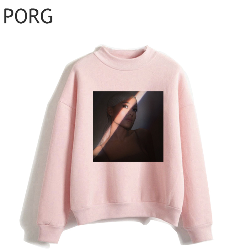Ariana Grande Women Hoodies Pullover Streetwear Punk Casual Harajuku Gothic Aesthetic Pink Sweatshirt Ullzang Clothes 90s O-Neck
