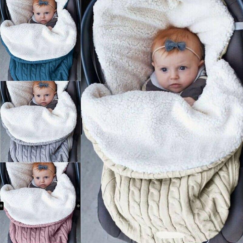 Toddler Newborn Baby Boy Girl Winter Warm Swaddle Knit Wrap Swaddling Blanket Sleeping Bag Baby Stroller