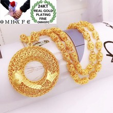 OMHXFC Jewelry Wholesale YM359 European Fashion Fine Woman Man Party Birthday Wedding Gift Round Carp 24KT Gold Pendant Necklace(China)