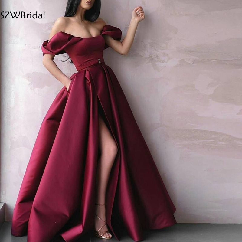 New Arrival Satin Dubai Arabic evening dresses long dress party 2020 abendkleider Vestido Cheap evening gown robe soiree-in Evening Dresses from Weddings & Events
