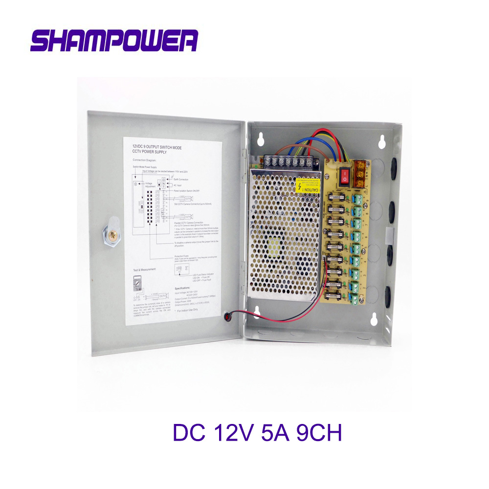 CCTV Power Supply Switch 12V 5A 9CH Channel Power Supply Box for CCTV Camera Security Surveillance - CCTV Security Accessories