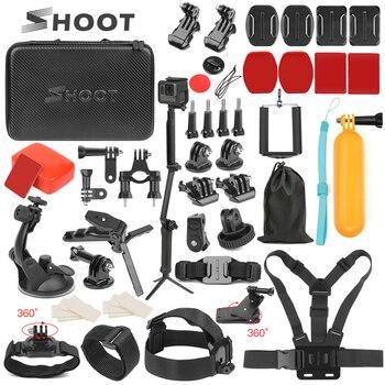 Atirar ação acessório da câmera tripé monopé cabeça peito cinta de montagem para gopro hero 8 7 6 5 preto xiaomi yi 4 k sjcam sj8 eken h9r