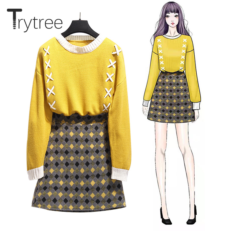Trytree Autumn Winter Woman Two Piece Set Casual O-neck Crossed Ribbon Knitted Top + Skirt Plaid Mini Office Lady 2 Piece Set