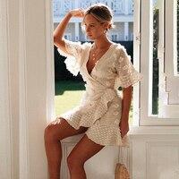 Sommer frauen Neue Mode Sexy V-ausschnitt frauen Kleidung Elegante Und Vielseitig Lace-Up Mit Rüschen Kurzen Ärmeln unregelmäßige Kleid