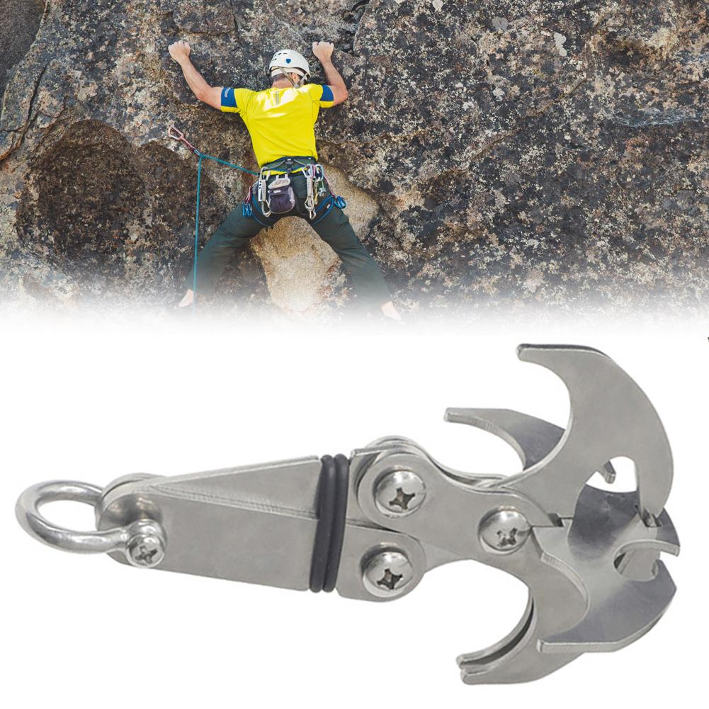 15cm*9cm Survival Folding Grappling Hook Outdoor Stainless Steel Climbing Claws Grappling Hook Car Traction Rescue Tool