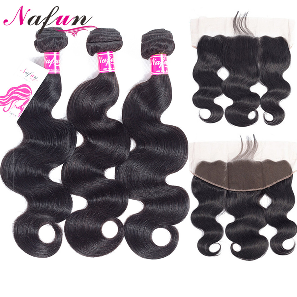 NAFUN Hair Body Wave Bundles With Frontal Closure Non-Remy Hair Natural Color Brazilian Human Hair Bundles With Lace Closure