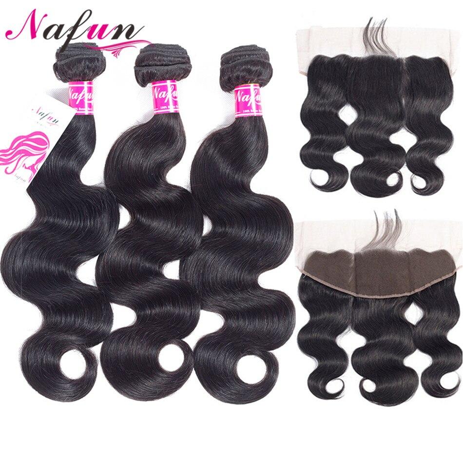 NAFUN Hair Body Wave Bundles With Frontal Closure Non-Remy Hair Natural Color Brazilian Human Hair Bundles With Lace Closure