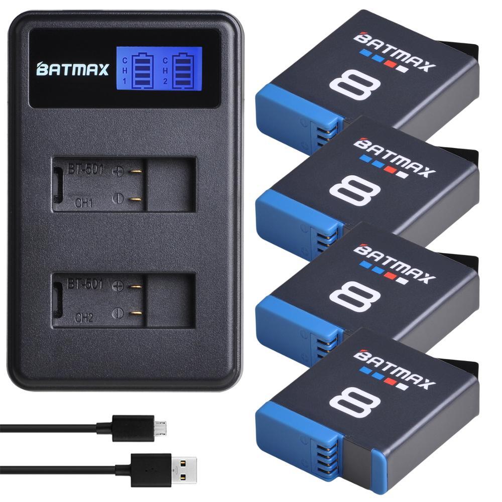 Original Batmax for Gopro Hero 8 CameraBlack Hero 8 7 6 5 Black 1680mAh Akku Decoded +  LCD Dual USB Charger for GoPro 8