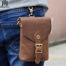 Flanker crazy horse leather men waist packs casual fanny pack brand bags small messenger for phone pouch hook bum bag