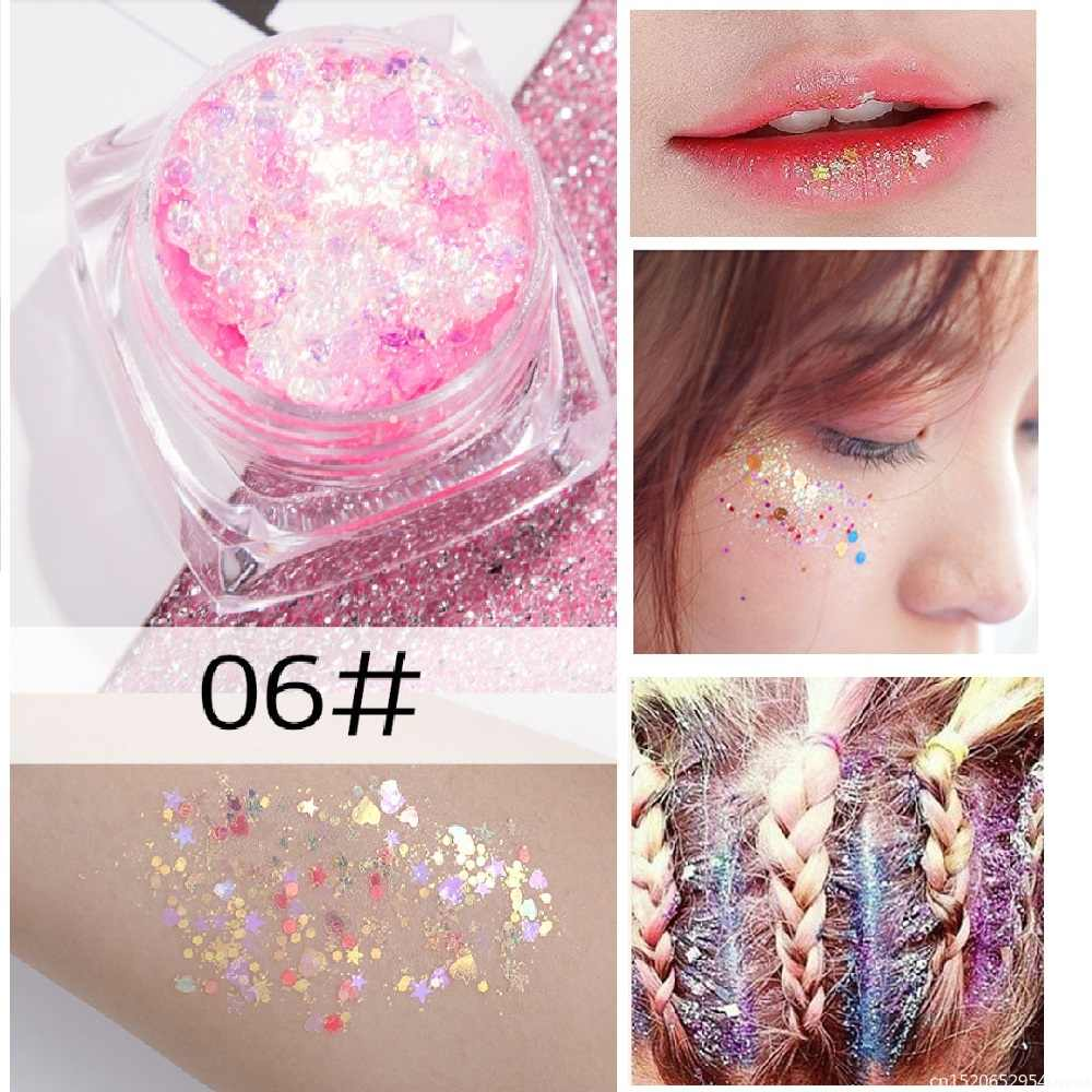 Mermaid Eye Sequins Glitter Gel for Face Lips Body Nail Loose Eyeshadow Cream Shimmer Flash Sparkly Eyes Festival Makeup TSLM1