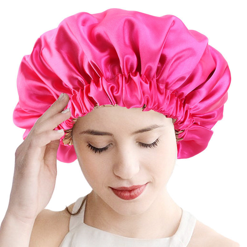 New Reversible Satin Bonnet Double Layer Large Size Sleep Night Cap Head Cover Bonnet Hat For For Curly Springy Hair Black