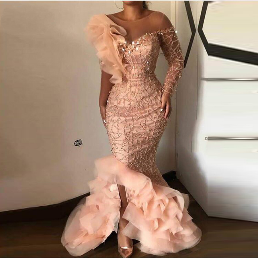 Elegant Sparkle Beaded <font><b>Mermaid</b></font> Evening <font><b>Dresses</b></font> Ruffles One Shoulder Sequined Long Prom Gowns Sexy Party <font><b>Dress</b></font> Robe de soiree image