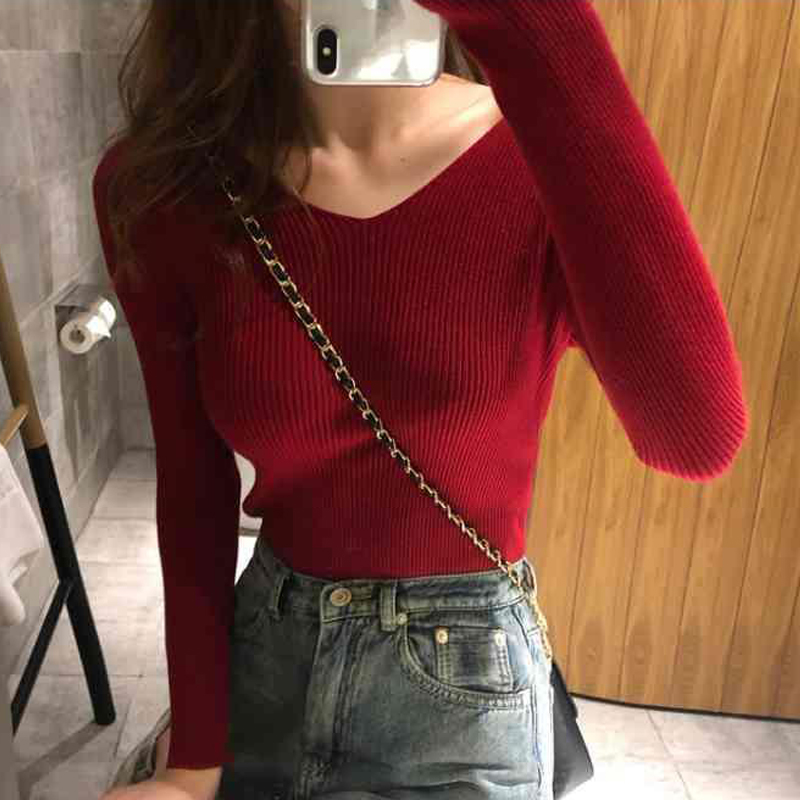 Hot V-Neck Sweater Women Long Sleeve Knitted Pullover Winter Clothes Women Sexy Fashion Girls Sweaters