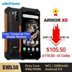 A armadura de ulefone x5 ip68/ip69k áspera à prova de choque smartphone 5000 mah octa núcleo 5.5 otandroid sim duplo android 9.0 otg nfc 3 gb 32 gb 4g lte