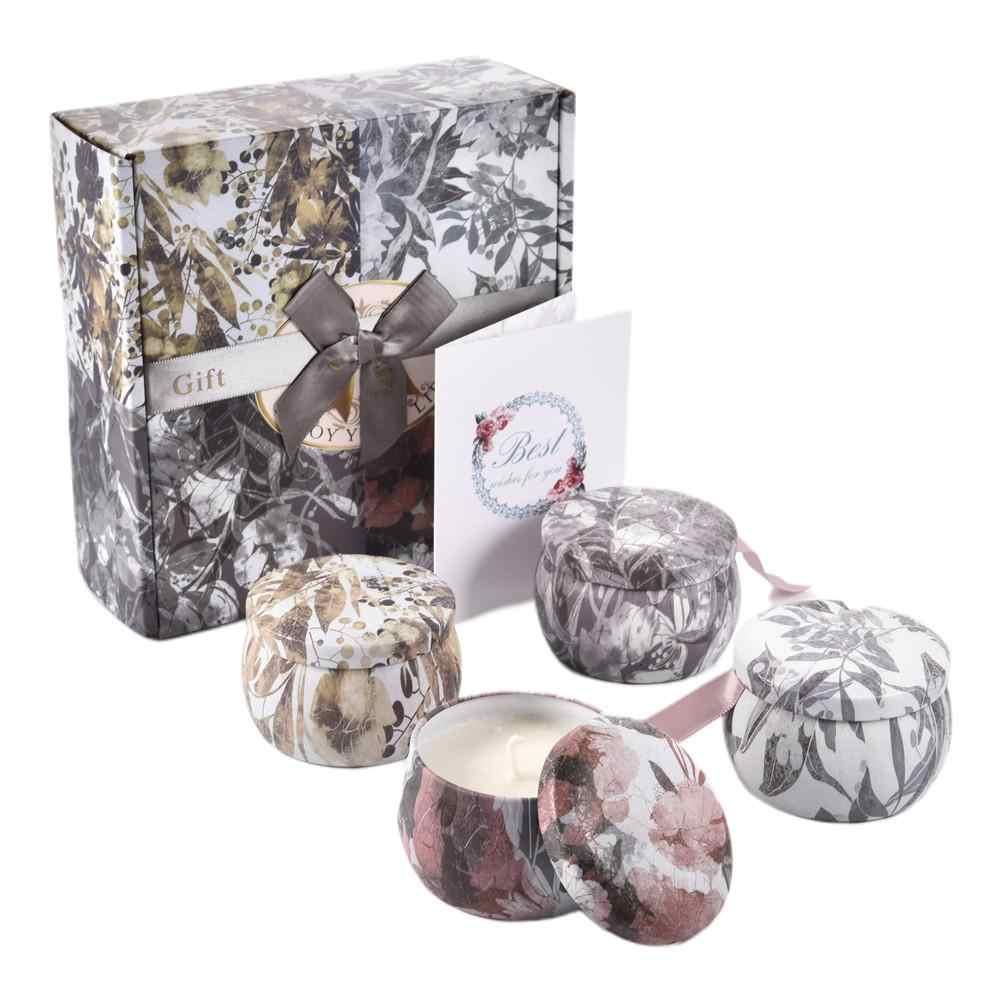 4 PCS Flower Language Aromatherapy Candle Set Environmentally Friendly Soy Wax Smokeless Candle Plant Essential Oil Aromatherapy
