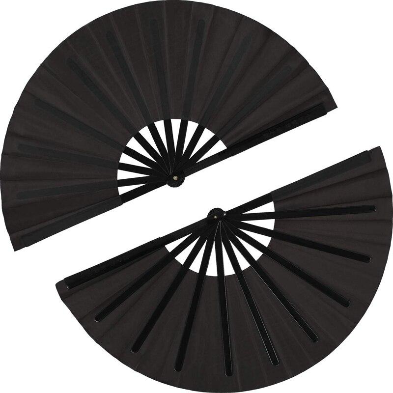 LBER 2 Pieces Large Folding Fan Nylon Cloth Handheld Folding Fan Chinese Kung Fu Tai Chi Fan Black Decoration Fold Hand Fan Fo