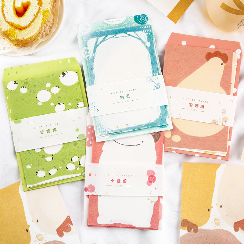 Envelope Set Kawaii Envelopes 4 Envelope + 8 Letter Paper Handbook Decoration Material Paper Student Light Message Note Paper
