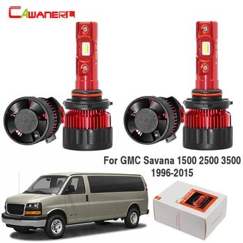 Cawanerl For GMC Savana 1500 2500 3500 1996-2015 Car Headlight Low Beam High Beam LED Light 9000LM White 6000K 12V 4 Pieces