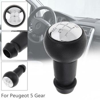 Velocidad de 5 de plástico ABS cromo engranaje Manual de coche cambio perilla del balonmano para Peugeot 106, 206, 306, 406, 207, 307, 407, 2008 herramientas clave