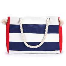 Fashion striped cotton tote bag blue white or red leisure shopping carrying women handbag
