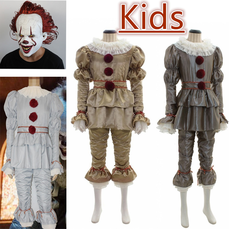Joker Pennywise Cosplay Costume With Mask Stephen King It Chapter Two 2 Horror Clown Halloween Fancy Dress Boys Girls