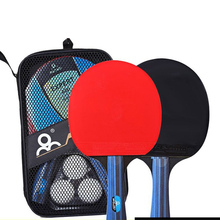 2pcs/set Ping Pong Paddle Racket Double Face Pimples In Long Handle Table Tennis Bat Set With Bag 3 Balls