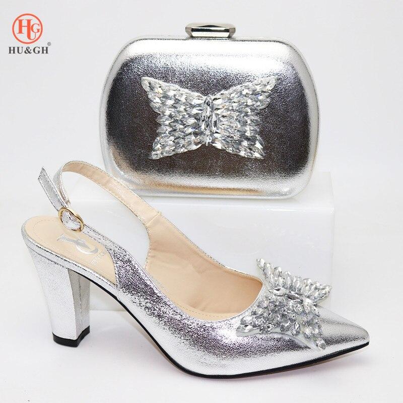 Ensembles de chaussures et de sacs en argent italien de mariage africain décorés de strass orteils pointus chaussures femmes de luxe 2019 pompes de fête