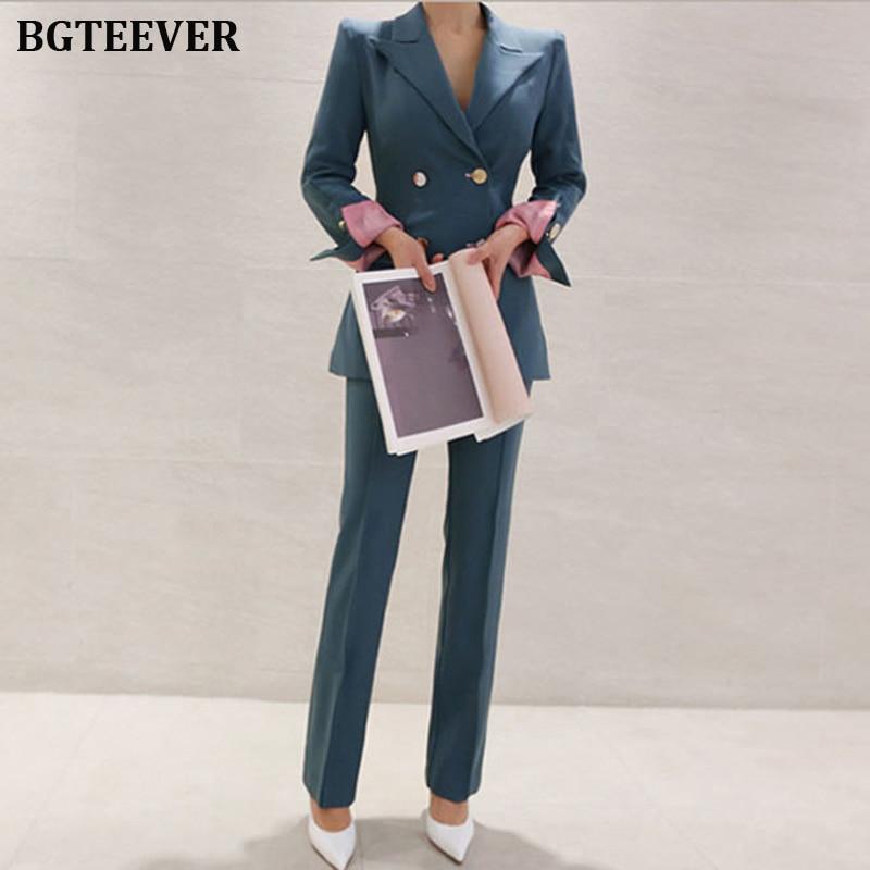 Fashion Work Pant Suits Women Slim Blazer Jacket & Ankle-length Pants OL Style Female Suits 2 Pieces Set 2019 Blazer Suit Set 50