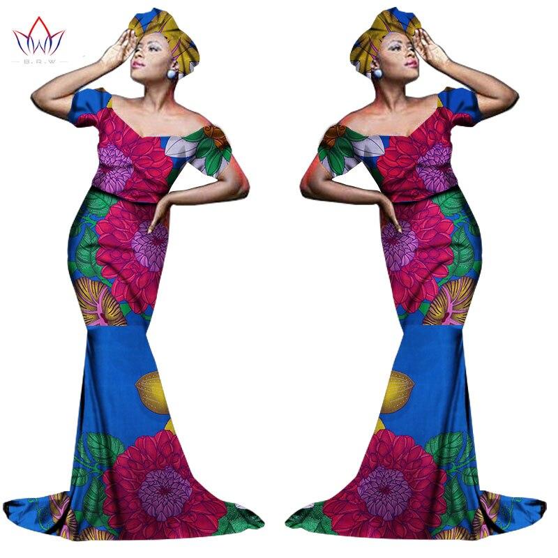Африканский хлопчатобумажный материал Платья Для Женщин Дашики традиционная Анкара Мода Африка одежда с коротким рукавом Анкара платья WY963 - Цвет: 2