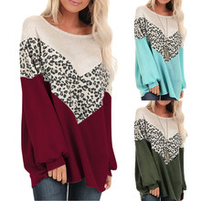 Autumn Women Long Sleeve Leopard Print Spelling Color O Neck Patchwork shirts Casual Top Tees Winter Plus Size blouse