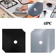 Reutilizável 4 pçs folha de gás de alumínio fogão queimador protetor capa forro limpo cobertura tapete forro limpo para acessórios de cozinha