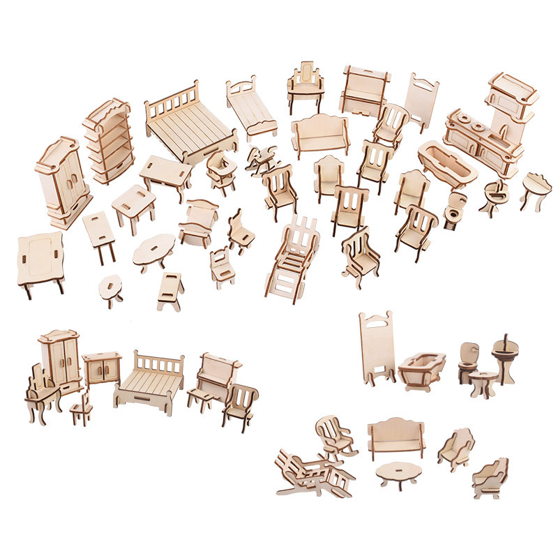 (34 Pcs/set)Laser Cutting DIY Wooden 3D Doll House Dollhouse Furnitures Jigsaw Puzzle Scale Miniature Handcraft Toys Models