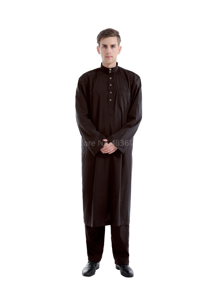 H9812b980d7fe40409c4a8c24abbb56d4g - Islamic Clothing Men Muslim Robe Arab Thobe Ramadan Costumes Solid Arabic Pakistan Saudi Arabia Abaya Male Full Sleeve National