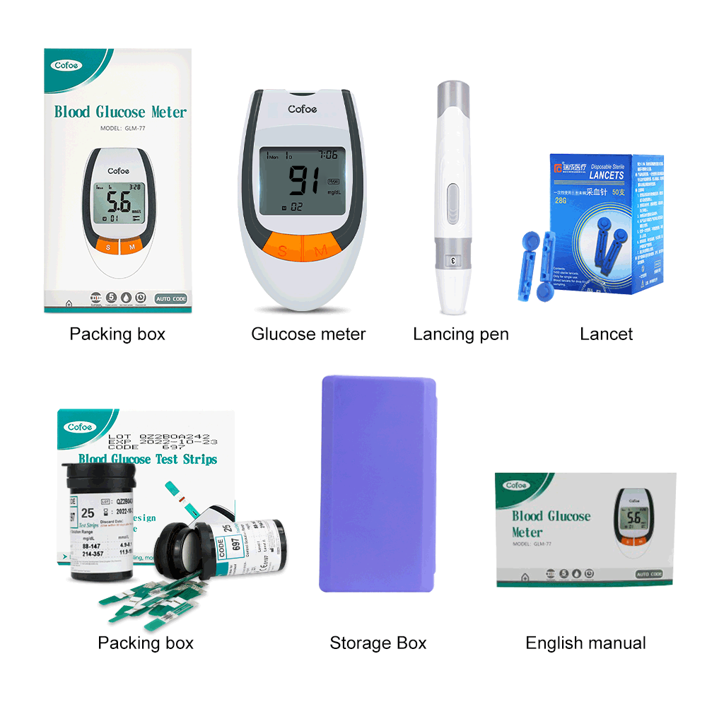 Cofoe 50/100pcs Safe-Accurate Blood Glucose Meter & Test Strips & Lancets Diabetes Glucometer Blood Sugar Monitor for Diabetic