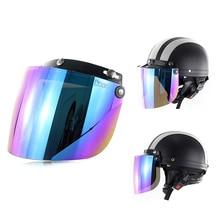 Windproof 3-Snap Visor Lens Shield for Motorcycle Helmets Flip Up Down C44