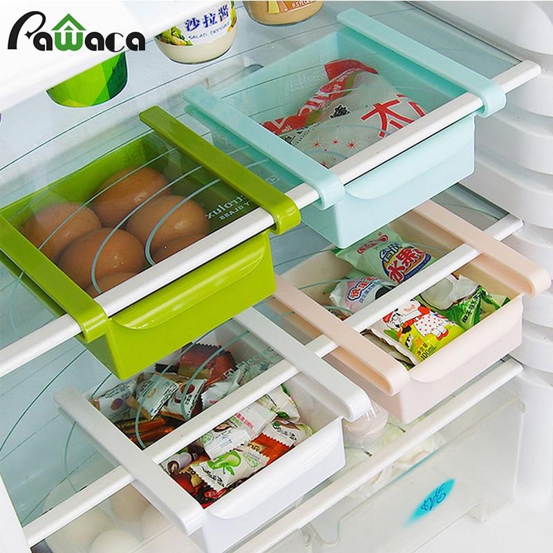 Slide Kitchen Fridge Freezer Storage Box Rack Shelf Holder Space Saver Organizer