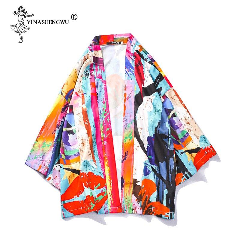 Japanese Traditional Kimono Yukata Robe Women Japan Kimonos Cardigan Men Kimono Femme Loose Thin Coat Unisex Kimono Cosplay Tops