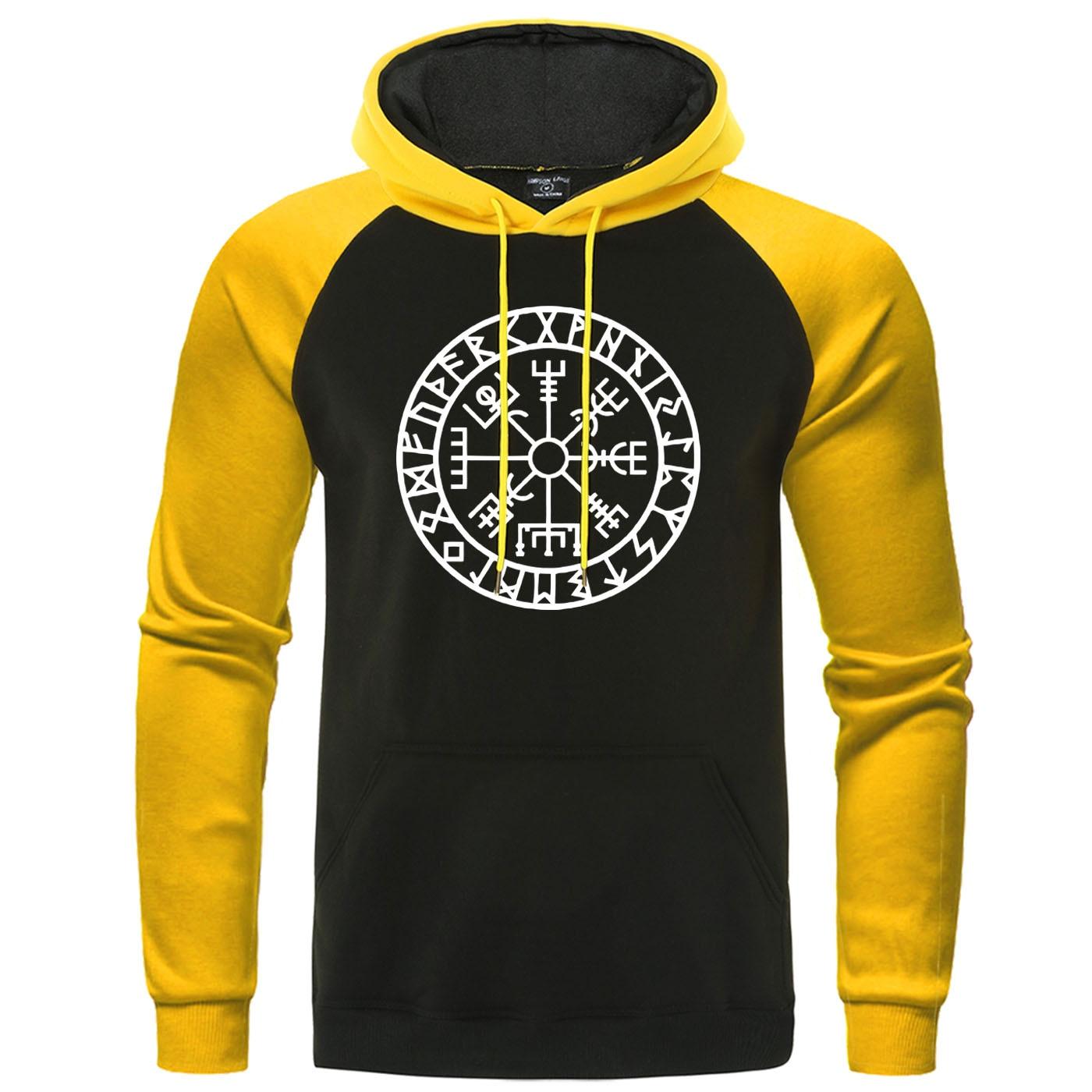 Novelty Mens Raglan Hooded Sweatshirt Vikings Odin Warrior Legend Men Pullover Winter Autumn Hoody Fleece Warm Casual Streetwear