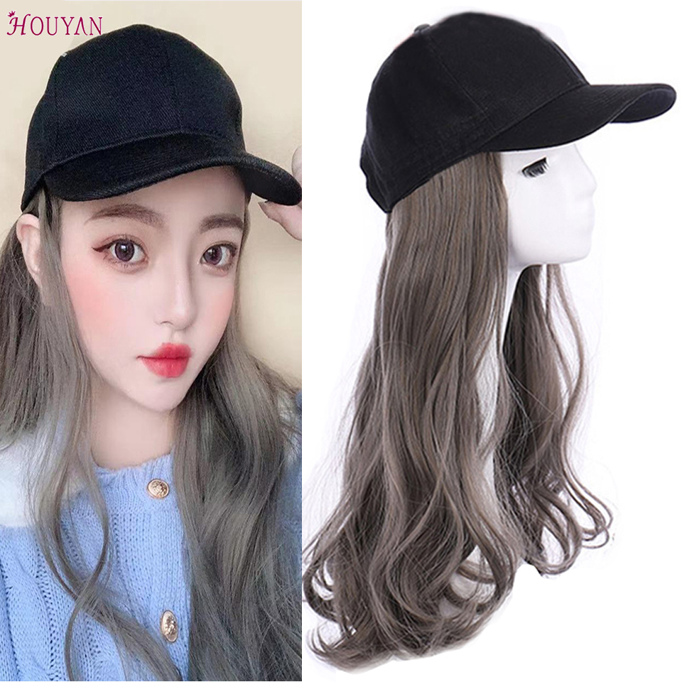 HOUYAN New Baseball Cap Long Wave Wig Grandma Gray Wig Hat Natural Connection Synthetic Full Headgear Hair Extension Wig